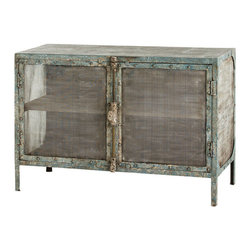 Finn Cabinet - Distressed metal, colored with touches of turquoise not quite worn away by time, shapes the impression given by your room.  Ideal for serving as a companion to an heirloom media cabinet in an eclectic family room or for storing guest linens in the hallway, the Finn Cabinet offers translucent screen doors and weighty vintage-inspired hardware, drawing attention to its salvaged look and feel.