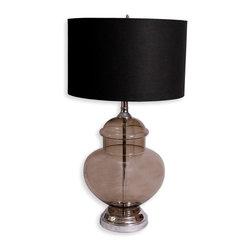 Chrome and Smoked Glass Lamp - overall: 29-5 h x 16 diam; base: 17 h x 12 diam; shade: 10 h x 16 diam