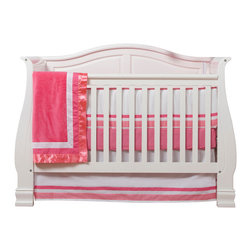 "Simplicity Hot Pink - Infant Set (4pc) - Let the simple side of Simplicity Hot Pink bring out the sweetness in your room!  Simplicity Hot Pink is nothing too sweet for any personality!  Beautiful hues of pink with white throughout make the most of this set.   This 4pc set includes:  4pc bumper, crib bed skirt, crib sheet, and a coordinating medium quilt. 4pc bumper is a combination of ""One Grace Place"" designer cotton print fabric and soft minky fabric.  Bumper is simplistic in detail with  front in elegant lines in white and both colors of pink -- all in cotton print fabric.  Back is in our darker pink minky with welting and ties in lighter pink.  Bed skirt repeats our bumper design with lines of white and both colors of pink in cotton print fabric.  Crib sheet accents this collection in our designer cotton print fabric - ""Pink Dots"".  Simplicity Hot Pink coordinating quilt is an overall universal quilt like no other.  Soft minky on both sides make this the perfect blanket anytime and anywhere! Pink minky on both sides with accents framed in white and trimmed in our pink satin trim.  Not only does this quilt coordinate with the entire set you can also enjoy using this outside the crib and for years to come!  SAVE WHEN YOU BUY AS A SET!"