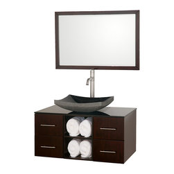 Wyndham - Abba 36in. Bathroom Vanity Set - Espresso - The beautiful Abba bathroom vanity set showcases versatility with an open storage area for towels, baskets, and other toiletries, four drawers for other accessories, and a mirror that hangs horizontally or vertically to best suit your needs. Customize it with your choice of countertop and sink.