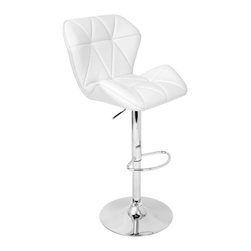 Lumisource - Jubilee Barstool White - Buckle up, you're in for a very comfortable ride! No one will leave your home when you introduce this plush, quilted, padded seat sitting atop a chrome, fully hydraulic stand with a footrest. Does it get any better than this?