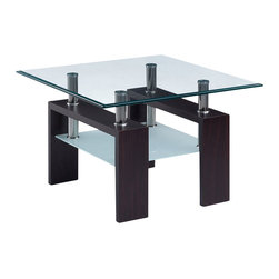 Global Furniture - Global Furniture USA T646 Square Glass End Table w/ Black Legs - This table is complete with clear top glass and frosted bottom glass with black legs to finish the look.