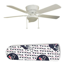 """Houston Texans 52"""" Ceiling Fan with Lamp - This is a brand new 52-inch 5-blade ceiling fan with a dome light kit and designer blades and will be shipped in original box. It is white with a flushmount design and is adjustable for downrods if needed. This fan features 3-speed reversible airflow for energy efficiency all year long. Comes with Light kit and complete installation/assembly instructions. The blades are easy to clean using a damp-not wet cloth. The design is on one side only/opposite side is bleached oak. Made using environmentally friendly, non-toxic products. This is not a licensed product, but is made with fully licensed products. Note: Fan comes with custom blades only."""