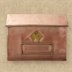 Brexton Horizontal Wall-Mount Copper Mailbox - A beautiful addition to your home's exterior, this copper mailbox features a rustic design and Antique Copper finish with eye-catching Brass accents.