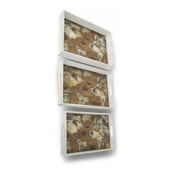 Zeckos - Set of 3 Distressed White Finish World Atlas Decorative Trays - This set of 3 trays adds a decorative accent to any table or desk in your home or office. Made of wood, they have an artificially distressed white painted finish, with a world atlas print on top of each tray. The largest tray measures 19 inches long, 13 3/4 inches wide, 2 7/8 inches deep, the middle one is 17 1/23 inches long, 11 5/8 inches wide, 2 3/8 inches deep, and the smallest tray measures 16 inches long, 10 inches wide, 2 inches deep. Use them to display groups of small items, to sort mail, or to serve snacks.