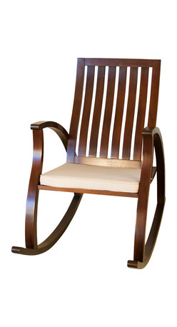 Great Deal Furniture - Worcester Brown Rocking Chair - The Worcester rocking chair is an attractive and elegant piece built from smooth brown mahogany wood with panel seat and backrest. This piece is equipped with a seat cushion, creating a comfortable seating experience and can be placed in any room.