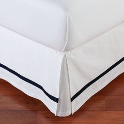 Morgan Banded 400-Thread-Count Bed-Skirt, Cal. King, Black - Our Morgan bed skirt finishes the bed with exceptional softness and tailored style. It features a single solid stripe that edges the crisp white ground. Made of pure cotton. 400-thread count. Machine wash. Imported.
