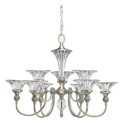 Progress Lighting - Progress Lighting P4507-101 Roxbury 9-Light Two-Tier Classic Silver Chandelier W - Nine-light, two-tier chandelier, with the spirit and elegance of an early Hollywood ballroom, features a sophisiticated combination of clear crystal accents with a Classic Silver finish. Whether in a center column or bobeches, crystal accents correspond with each shade, while detailed arms and rings visually frame the crystal. Ten feet of 9 gauge chain is supplied for ceiling chain mount. Renovations Collection will provide your special room with the finest uplight possible.