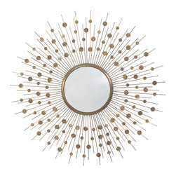 "Kathy Kuo Home - Orlon Modern Aged Brass Convex Starburst Round 36""D Mirror - A great piece of modern wall art, this convex sunburst mirror draws attention and light with aplomb.  As perfect in a Palm Springs mid century home as it would be in an uptown apartment, we love the sculptural play of light and motion it creates."