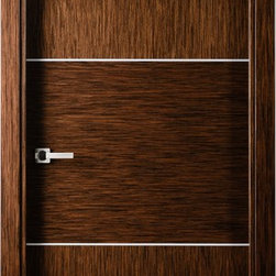 Astra Modern Interior Door in a Wenge finish - The Astra comes in a natural Italian wenge wood veneer in both vertical and horizontal direction decorated with 2 silver strips. More Information at (866) 55-DOORS (3667)