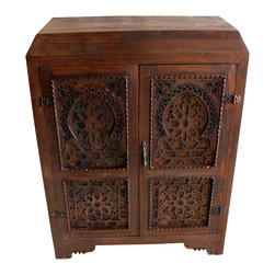 Badia Design Inc. - Moroccan Hand Carved Dark Wood Armoire - This is a beautifully designed one of a kind Dark Wood Armoire with hand carved designs on the front and sides.