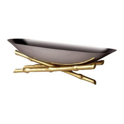 "L'Objet - L'Objet Stainless Steel Boat on 24K Gold Plated Bambou - L'Objet is best known for using ancient design techniques to create timeless, yet decidedly modern serveware, dishes, home decor and gifts. Stainless SteelHand-Antiqued Brass24K Gold-PlatingPlease Hand WashLuxuriously Gift Boxed. Suede Storage Bag IncludedMeasures: 24"" L x 7.5"" H x 7"" W This collection combines organic elements with sleek silhouettes to create a modern statement. Each unique bamboo accent is hand-gilded with 24K gold and soldered with sterling silver."