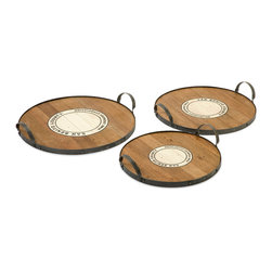 iMax - Benito Wood and Metal Trays, Set of 3 - This set of three Benito trays feature the Wine Growers Association emblem of San Benito county are made from recycled wood come in a set of three sizes. This is a beautiful versatile set of trays that work for a variety of uses.