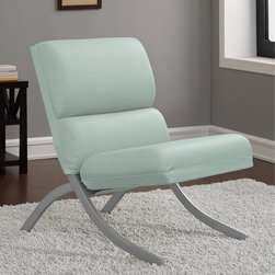 None - Rialto Aqua Bonded Leather Chair - Aqua bonded leather upholstery adds a burst of lively,refreshing color to the channel-tufted Rialto accent chair. Designed with non-mar foot glides to protect your floors,this handsome chair features a unique brushed silver base.