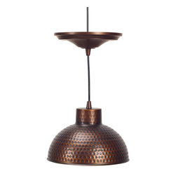 Screw-In Antique Hammered Copper Pendant Lighting with Adjustable Cord - Soft, Antique Lighting Ideal For Kitchens - Easy Screw-In Installation