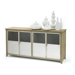 """Go Home Ltd - Selvege Sideboard by Go Home - This gorgeous industrial twist on a contemporary sideboard by Go Home makes a striking buffet for the dining room. Its washed wood frame and stainless steel doors bring coolness and sleekness to your space. Also beautiful under a plasma as a entertainment console or behind a sofa as means to divide a space. (GH) 78"""" long x 20"""" deep x 39"""" high"""