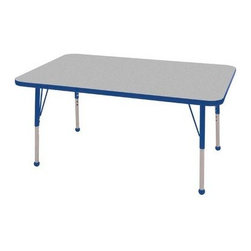 """Ecr4kids - Ecr4Kids Adjustable Activity Table - Rectangular 30"""" X 48"""" Elr-14110-Gbl-Tb Blue - Table tops feature stain-resistant and easy to clean laminate on both sides. Adjustable legs available in 3 different size ranges: Standard (19""""-30""""), Toddler (15""""-23""""), Chunky (15""""-24""""). Specify edge banding and leg color. Specify leg type."""