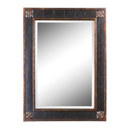 Uttermost - Bergamo Rectangular Beveled Vanity Mirror in Chestnut Brown - 14156 - Bergamo rectangular vanity mirror