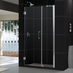 "Dreamline - Unidoor 53 to 54"" Frameless Hinged Shower Door, Clear 3/8"" Glass Door - The Unidoor from DreamLine, the only door you need to complete any shower project. The Unidoor swing shower door combines premium 3/8 in. thick tempered glass with a sleek frameless design for the look of a custom glass door at an amazing value. The frameless shower door is easy to install and extremely versatile, available in an incredible range of sizes to accommodate shower openings from 23 in. to 61 in.; Models that fit shower openings wider than 31 in. have an adjustable wall profile which allows for width or out-of-plumb adjustments up to 1 in.; Choose from the many shower door options the Unidoor collection has to offer for your bathroom renovation."