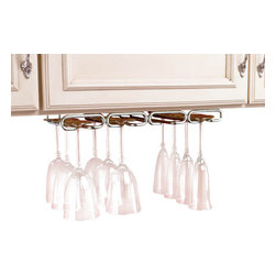 "Rev-A-Shelf - Rev-A-Shelf 3450-11CR 11"" Quad Under Cabinet Stemware Rack - Chrome - The 11"" Chrome Stemware Rack allows you to utilize the space underneath your cabinets for elegant and efficient storage of up to 12 pieces of stemware. The popular Rev-A-Shelf 3450-11CR under cabinet organizer for wine glasses and other stemware features four rows, 5/8"" thick heavy gauge wire construction, and a hidden mounting set up for an easy 4 screw installation. The unique mounting plate also allows for installation to framed or frameless cabinets. Physical Specifications: 17"" W x 11"" D x 1-1/2""H. The Stemware Holder has a 3-1/2"" wide opening for glass base. Please make sure that your (under) cabinet has a depth of at least 11"" to ensure a proper fit. Stemware NOT included."