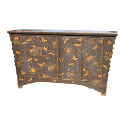 Mortise & Tenon - Hand Painted Buffet with a Decorative Butterfly Motif - 4 Doors