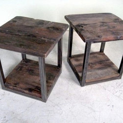 Rustic Modern End Table With Steel Base - Made by http://www.ecustomfinishes.com