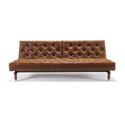 "Innovation USA - ""Innovation"" Oldschool Chesterfield Vintage Brown Sofa Be... - Both stylish and comfortable, the ""Innovation USA"" Oldschool Vintage Brown Chesterfield Sofa Bed combines something fresh and contemporary with adding retro styling. Vintage brown fabric features an aged leather look, with eco-friendly engineering (80/20 vinyl viscose mix). The piece is accented with throwback mocha wood legs."