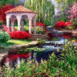 The Tile Mural Store (USA) - Tile Mural - Spanish Gazebo - Kitchen Backsplash Ideas - This beautiful artwork by Laurie Snow Hein has been digitally reproduced for tiles and depicts a colorful gazebo and stream.  This garden tile mural would be perfect as part of your kitchen backsplash tile project or your tub and shower surround bathroom tile project. Garden images on tiles add a unique element to your tiling project and are a great kitchen backsplash idea. Use a garden scene tile mural for a wall tile project in any room in your home where you want to add interesting wall tile.