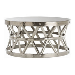 """Arteriors - Arteriors Home - Stanley Costello Cocktail Table - 2421 - Arteriors Home - Stanley Costello Cocktail Table - 2421 Features: Costello Collection Coffee TableHammered iron cocktail table with rivet construction and a polished nickel finishCoordinates with Costello accent table (2005) and side table (2685).Polished Nickel Finish Some Assembly Required. Dimensions: H 18.5""""x 36"""" Dia"""