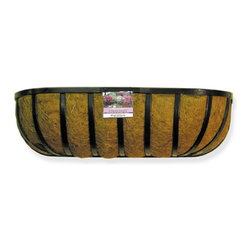 Border Concepts - Border Concepts Traditional Wall Trough Planter with Liner Multicolor - 72173 - Shop for Planters and Pottery from Hayneedle.com! Inspired by the simple mountain cottages of Appalachia whose window frames were adorned with beautiful seasonal flowers and foliage from the first breath of spring to the final last gasp of fall the Border Concepts Traditional Wall Trough Planter with Liner is a gorgeous way to display your favorite plants and flowers. Strong and durable this trough planter has a flat steel bar construction and is protected with a black vinyl coating to help protect against the elements. Perfectly molded to fit the trough the included coconut liner is held together with natural tree sap to support growth for several growing seasons. The traditional window basket measure 7 inches deep and 7 inches wide and is available in several different lengths.