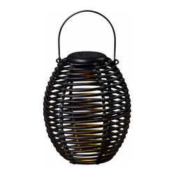 Kenroy Home - Kenroy 60530RAT Coil Solar Lantern - A great outdoor decor accent by day and an instant table top or hanging light source by night. This elegant coiled, woven, rattan lantern features a removable circular solar disc which when placed in optimal sun location will constantly store a charge to the included NiMH internal battery.