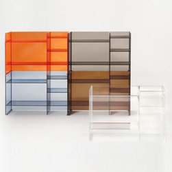 Kartell - Sound-Rack Cabinet by Kartell - While compact, the versatility the Kartell Sound-Rack Cabinet offers is unmatched. Made of lightweight and durable PMMA plastic, it features five shelves and can be moved and/or stacked in numerous storage configurations. At once solid and transparent, the Sound-Rack also makes an excellent room divider, separating spaces without making things feel closed-off. Founded in 1949 by Giulio and Anna Castelli, Kartell has become the world leader—and innovator—in the realm of molded plastic furniture. Headquartered in Italy, Kartell works with designers worldwide to create their distinctive line of modern furniture, lighting and accessories. Dedication to discovering and employing new technologies and manufacturing methods results in a growing line of durable, stylish and cutting edge products.