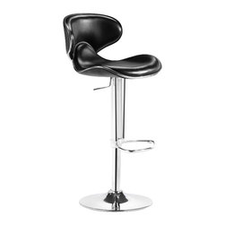 ZUO - ZUO Fly Adjustable Height Bar Chair-Espresso - ZUO - Bar Stools - 300133 - With high back and plush seat the Fly has the most comfort for a barstool. It has a leatherette seat a hydraulic piston and a chrome plated foot rest and steel base.