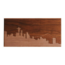 DMWR - Seattle Skyline Wall Art - Now you can enjoy the beauty of Seattle without needing a raincoat. This solid walnut carved image, by Dave Marcoullier, cleverly juxtaposes the urban landscape of this great Northwest city with the natural majesty of nearby Mount Rainier.