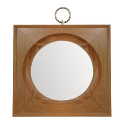 "Global Views - Ring Mirror - Light Limed Finish - The Ring Mirror frame is made of solid oak with a solid brass nickel plated ring. The glass has a 1"" bevel. Hangs on the wall with 24 inch metal cleat."
