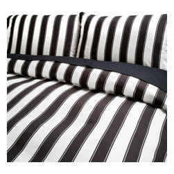 Sin in Linen - Black and White Stripe Comforter, King - This classic black and white stripe bedding is a great bedroom focal piece with its large graphic stripes.