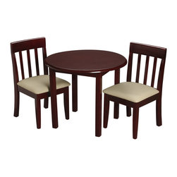 Gift Mark - Gift Mark Childrens Round Cherry Table with 2 Matching Upholstered chairs - The Gift Mark round cherry stained table and 2 matching upholstered chair sets, with beautifully detailed vertical seat back supports. The table is made of solid wood. These durable table and upholstered chairs will add a touch of sophistication to any child's room or play room. Intended specifically for your child. Children play for hours on end. Our solid wood table and chair sets clean easily with any high quality furniture polish. All materials are bpa free and phthalate free. All tools are included for easy assembly.