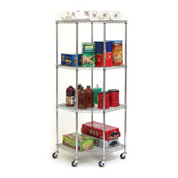 Seville Classics - Seville Classics Chrome 4-tier Corner Wire Casters/ Wheels Shelving System - Organize your home,office,warehouse and more with the Seville Classics 4-tier chrome wire corner shelving system. Made from heavy duty,chrome-plated steel,the shelves can be adjusted at 1-inch interval and can interlock with multiple units.