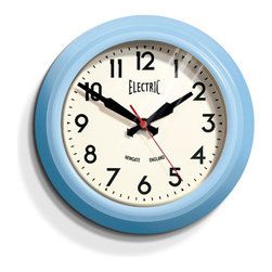 """Origin Crafts - Newgate small ?electric? wall clock - blue 8"""" (one left) - Newgate Small ?Electric? Wall Clock - Blue 8"""" Metal case in gloss Blue, Black, red or chrome plate finish, glass lens, clean modern dial, battery operated. Dimensions (in):8�? x 8�? x 3? By Newgate Clocks - Newgate specialises in the creation of iconic alarm clocks, travel alarm clocks, mantel"""