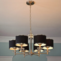 "None - 31"" Diameter 6-light Nickel Chandelier - This chandelier has a really upscale, classy vibe. I like the drum shades, silver accents and sleek design."