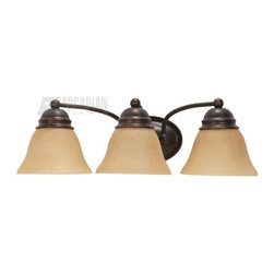 Satco - Satco 60/3127 Empire ES Energy Efficient Traditional Bathroom / Vanity Light - Deep rich Mahogany Bronze is accented by Champagne Linen glass in this complete product grouping which offers a fixture for every application.