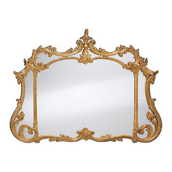 """Inviting Home - Horizontal Chippendale Style Mirror - Chippendale style mirror finished in antiqued gold leaf 52-1/2""""W x 3""""D x 39-1/2""""H hand-crafted in Italy Hand-crafted in Chippendale style horizontal wall mirror. Mirror has an elaborate carved wood frame richly embellished with leaf scrolls and finished in hand applied antiqued gold metal leaf. This mirror is hand-crafted in Italy"""