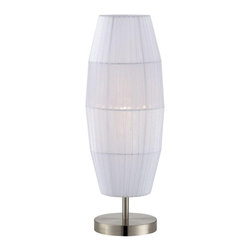 Lite Source Inc. - Parvati Table Lamp - Parvati TableLamp features a white shade made of organza and a polished steel finish. One 13 watt, 120 volt medium base compact fluorescent bulb is required, but not included. Dimensions: 4.75 inch width x 20 inch height.