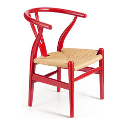 ZUO ERA - Baby Grant Chair Red & Natural Wicker (set of 2) - Baby Grant Chair Red & Natural Wicker