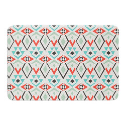"""KESS InHouse - Pom Graphic Design """"Tribal Marrakech"""" Red White Memory Foam Bath Mat (24"""" x 36"""") - These super absorbent bath mats will add comfort and style to your bathroom. These memory foam mats will feel like you are in a spa every time you step out of the shower. Available in two sizes, 17"""" x 24"""" and 24"""" x 36"""", with a .5"""" thickness and non skid backing, these will fit every style of bathroom. Add comfort like never before in front of your vanity, sink, bathtub, shower or even laundry room. Machine wash cold, gentle cycle, tumble dry low or lay flat to dry. Printed on single side."""