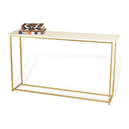 Interlude - Interlude Edland Grand Console - Antique Gold Leaf - Statement console in cream marble and antique gold creates a warm statement in your space.