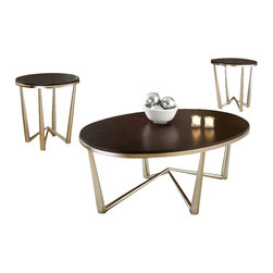 Steve Silver Company - Steve Silver Company Cosmo 3 Pack Modern Cocktail and End Tables Set in Dark Che - Steve Silver Company - Coffee Table Sets - CM3000 - This beautiful 3 Pack occasional set blends traditional wood tones with modern structure.  The round table tops finished in dark cherry veneers are warm against the cool of the pewter metal base.  Be the first to make the Cosmo occasional set part of your home.