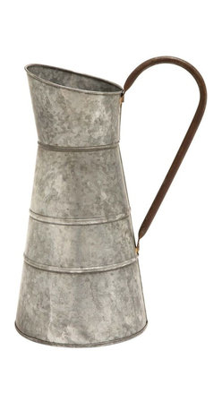 Benzara - Galvanized Watering Jug with Classic Style Design - Flaunting a smooth silver finish in a matte texture, this watering jug exemplifies sophistication and simplicity in design. Making a fine addition to your gardening kit, this Metal Galvanized Watering Jug brings together versatility and durability. The watering jug flaunts a classic-style design and is decorated with a rustic style finish for added visual appeal. Designed from premium grade metal, this durably constructed watering jug is galvanized to offer resistance to corrosion and rust. The oval mouth doubles up as a spout and directs the water in a single, steady, stream. Provided with a sturdy handle, this watering jug offers a firm grip for easy, comfortable handling. This is a wonderful gifting option for your beloved on special occasions.