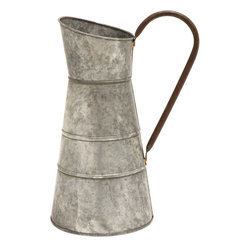 Benzara - Galvanized Watering Jug - Flaunting a smooth silver finish in a matte texture, this watering jug exemplifies sophistication and simplicity in design. Making a fine addition to your gardening kit, this Metal Galvanized Watering Jug brings together versatility and durability. The watering jug flaunts a classic-style design and is decorated with a rustic style finish for added visual appeal. Designed from premium grade metal, this durably constructed watering jug is galvanized to offer resistance to corrosion and rust. The oval mouth doubles up as a spout and directs the water in a single, steady, stream. Provided with a sturdy handle, this watering jug offers a firm grip for easy, comfortable handling. This is a wonderful gifting option for your beloved on special occasions.