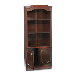 DMi - DMi Governor's Series Bookcase w/ Doors, Three-Shelf, 30W x 14D x 74H, Mahogany - Classic elegance that makes a statement in an executive setting. Engraved mahogany finish on solid hardwood. Two shelves on top adjust to meet your storage needs. Doors on bottom conceal contents. Leveling glides compensate for uneven floors.